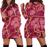 Pink Style Roses & Gold Chains Women's Hoodie Dress