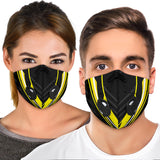 Racing Style Black & Yellow Stripes Vibes Premium Protection Face Mask