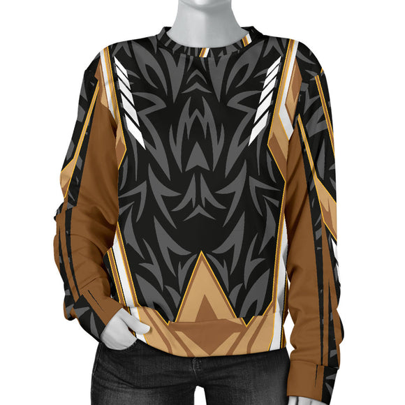 Racing Style Brown & Black Colorful Vibe Women's Sweater