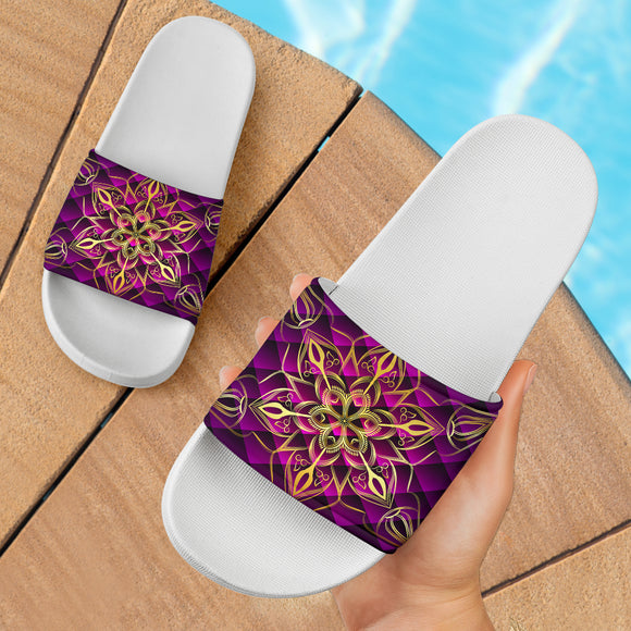 Luxury Gold Style Mandala With Violet Art Slide Sandals