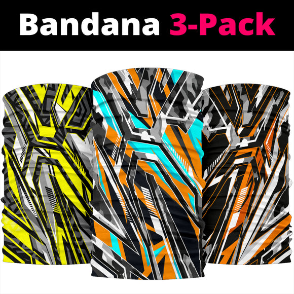 Racing Army Style Colorful Vibe Bandana 3-Pack