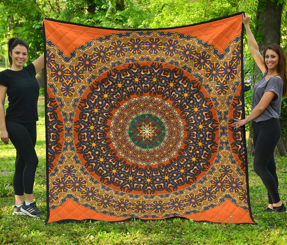 Luxury Orange Mandala Style Premium Quilt