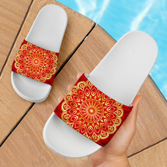 Luxury Special Gold Style Mandala With Red Art Slide Sandals