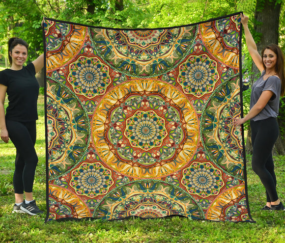 Yellow & Green Mandala Premium Quilt