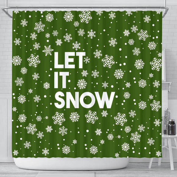 Let It Snow Green Shower Curtain