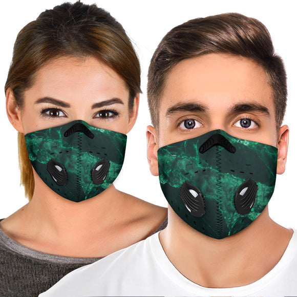 Emerald Green Real Marble Design Premium Protection Face Mask
