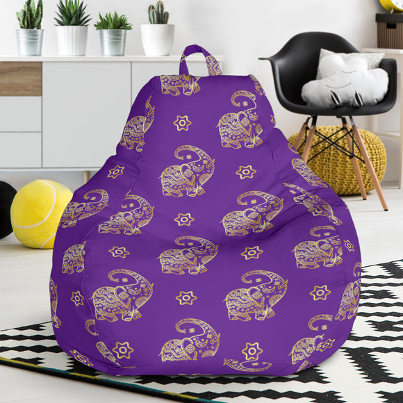 Lucky Purple Elephant Bean Bag Chair
