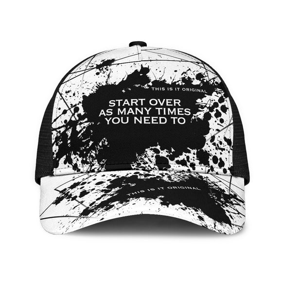 Start over as many times you need to. Black & White Design Mesh Back Cap