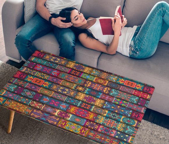 Lovely Bohemian Color Rectangular Coffee Table