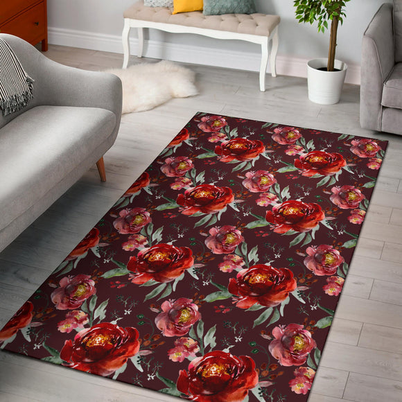 Royal Rose Red Garden Area Rug