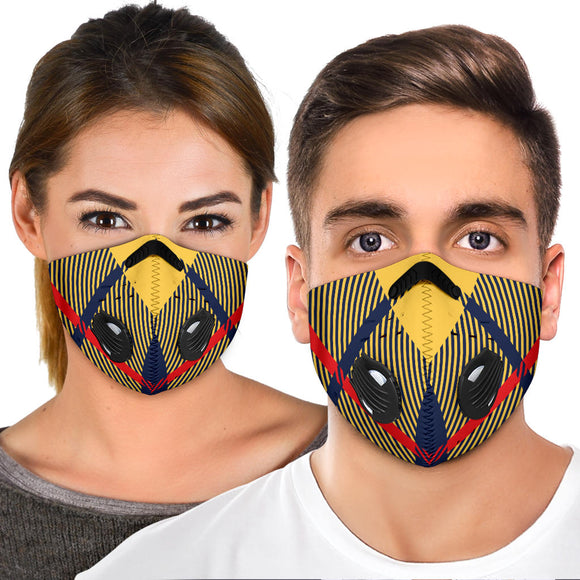 Amazing Luxury Yellow & Dark Blue Tartan Premium Protection Face Mask