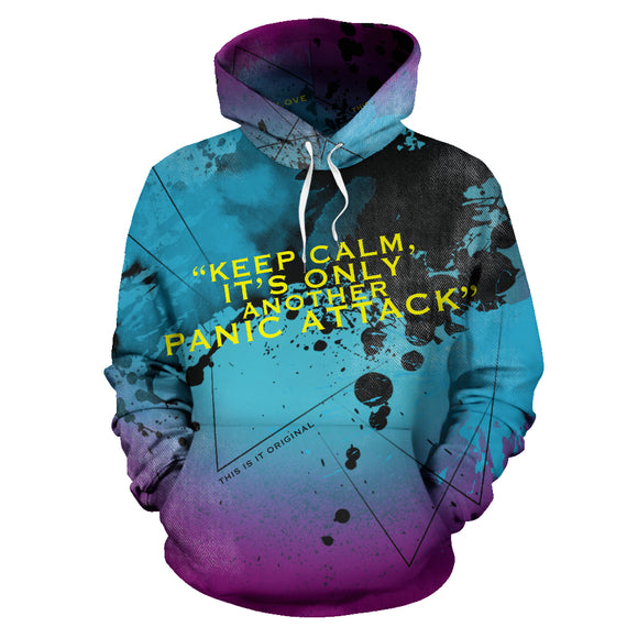 Light Blue Street Art Design With Black Painted Style - KEEP CALM - PANIC ATTACK HOODIE
