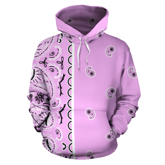 Pink and White Asymmetrical Bandana Style All Over Hoodie