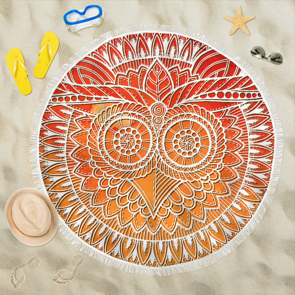 Mandala Orange Owl Beach Blanket