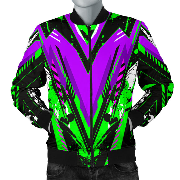 Racing Style Violet & Neon Green Stripes Vibes Men's Bomber Jacket