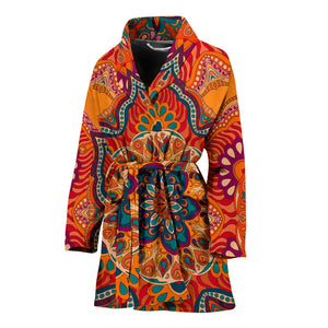 Luxury Colorful Orange Mandala Art Design Women's Bath Robe