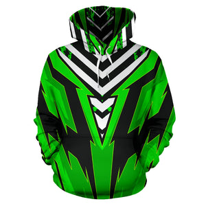 Racing Urban Style Green & Black Stripes Vibes All Over Hoodie