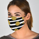 Golden Dots With White And Black Stripes Protection Face Mask