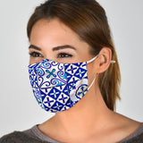 Traditional White & Blue Square Mosaic Design Two Protection Face Mask