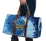 Special Navy Light Blue Tie Dye Design - Golden Lion Head Style - Travel Bag