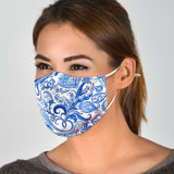 White & Blue Floral Paisley Design Protection Face Mask