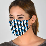 Blue Heart With Black Stripes Protection Face Mask