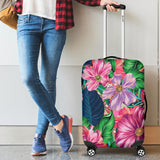 Flowery Pink Luggage Cover