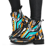 Racing Army Style Grey & Orange Unisex Leather Boots