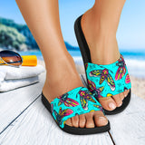 Light Blue Design With Cartoon Moth Slide Sandals