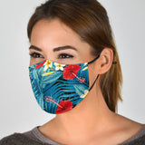 Tropical Ocean Blue Vibes With Red Flowers Protection Face Mask