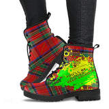 You'll be judged. Keep going. Classic Red Tartan Design With Neon Splash Leather Boots
