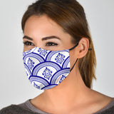 Amazing Traditional Design White & Blue Ornaments One Protection Face Mask