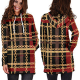 Dark Style Gold Chains Design Women's Hoodie Dress