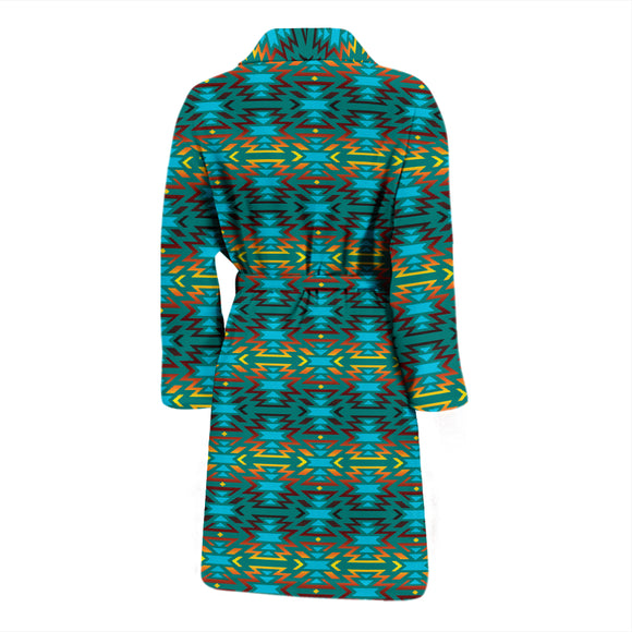 Fire Colors And Turquoise Teal Men's Bath Robe