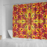 Red Sunny Mandala Shower Curtain