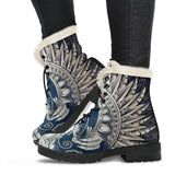 Giant White Phoenix Rising Faux Fur Leather Boots