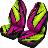 Racing Style Pink & Green Colorful Vibes Car Seat Covers