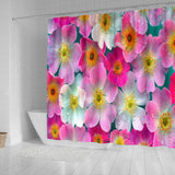 Flower Pink Power Shower Curtain