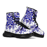 Traditional Blue & White Ornamental Vibes Design Three Chunky Boots