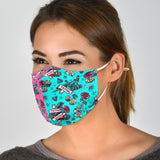 Tattoo Studio Design in Pink & Ocean Blue Vibes Protection Face Mask