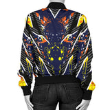 Racing Style Orange Splash & Dark Blue Vibes Women's Bomber Jacket