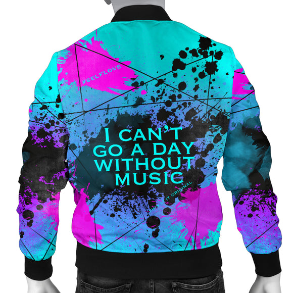 I can't go a day without music. Street Art Design Men's Bomber Jacket