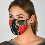 Black Design With Roses & Chains Protection Safe Mask