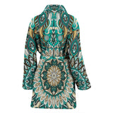Luxury Colorful Green Mandala Art Design Women's Bath Robe