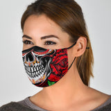 Skull Smile With Red Roses Protection Face Mask