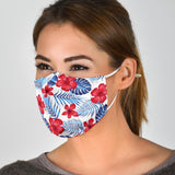 Tropical Red Flowers & Blue Leafs Design Protection Face Mask