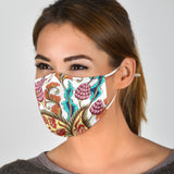 Paisley Floral Design With White Protection Face Mask