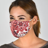 Luxury Mandala Red & White Design Protection Face Mask