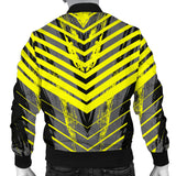 Racing Style Grey & Yellow Stripes Vibes Men's Bomber Jacket