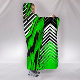 Racing Style Green & White Stripes Vibes Hooded Blanket